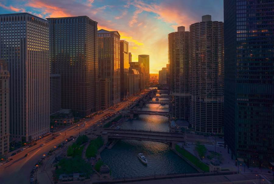Sunset in Chicago 1